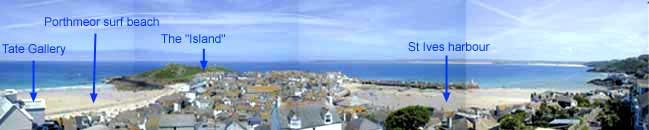 View of St Ives from the top floor of Seabirds House.